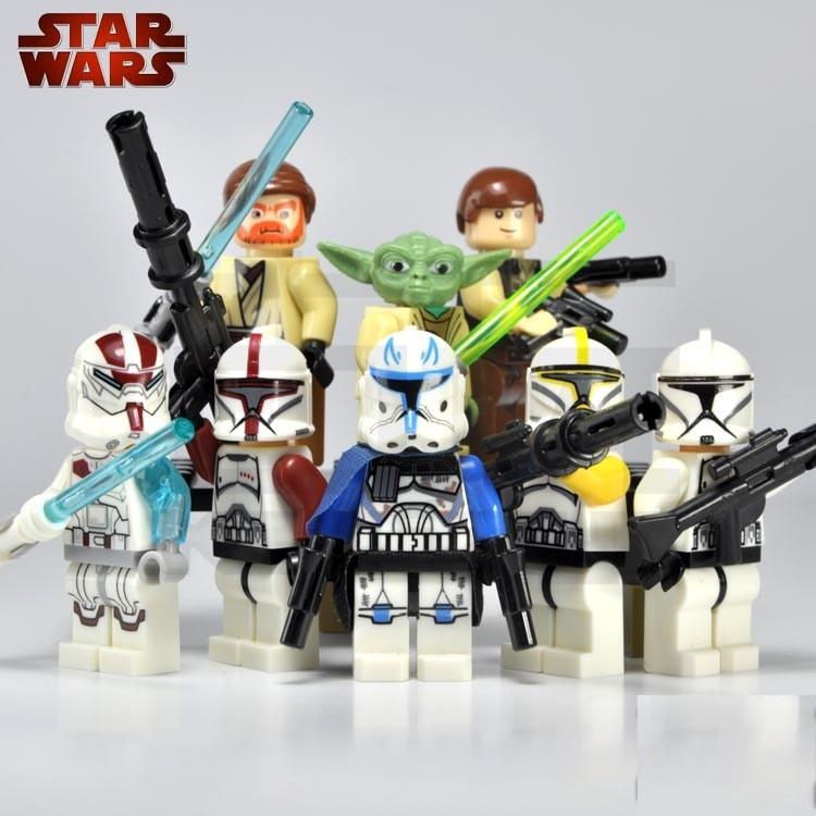 Звездные войны 8шт белый синий клон десант йода Хан Соло Оби Ван Кеноби действий минифигурка игрушка fiigure блоки совместимы с lego