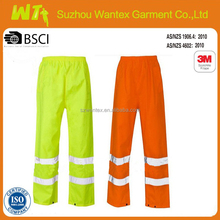 wholesale hi vis reflective waterproof pants reflective working pants for man orange or yellow reflective tape work pants