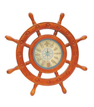 2014 nautical wooden ship wheel clock,antique ship wheel wall clock