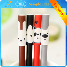 New products on china market cute pet series 0.5mm black gel ink plastic pens for promotion