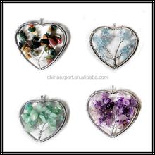 2015 multi-color fashion family tree gemstone point pendants