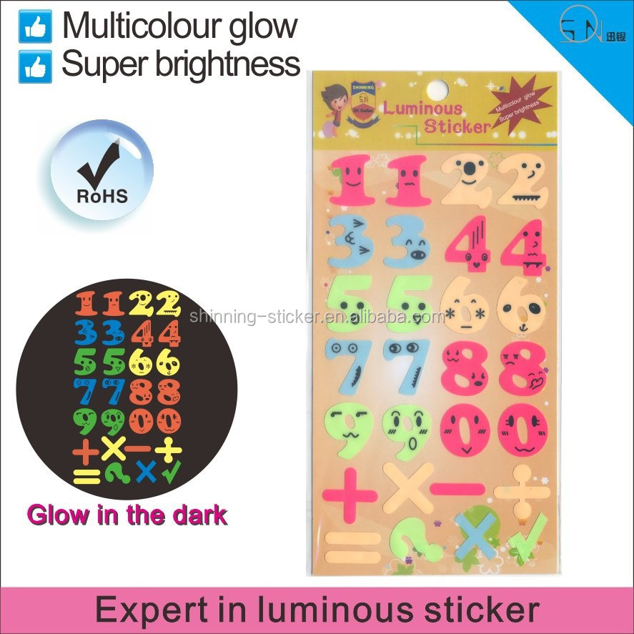 direct manufacture number print luminous stickers. Black Bedroom Furniture Sets. Home Design Ideas