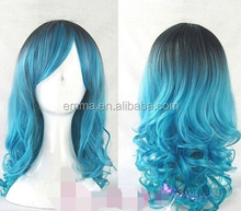 Newest fashion cosplay lolita wig women full long curly wavy blue mix hair wigs W2109