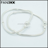 Beautiful Silver Plated Snake Chain Classic Bead Barrel Clasp Bracelet for Beads Charms