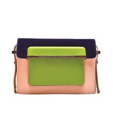 CL10-167 Korea style fashion ladies PU green three tone bag women trend 2015