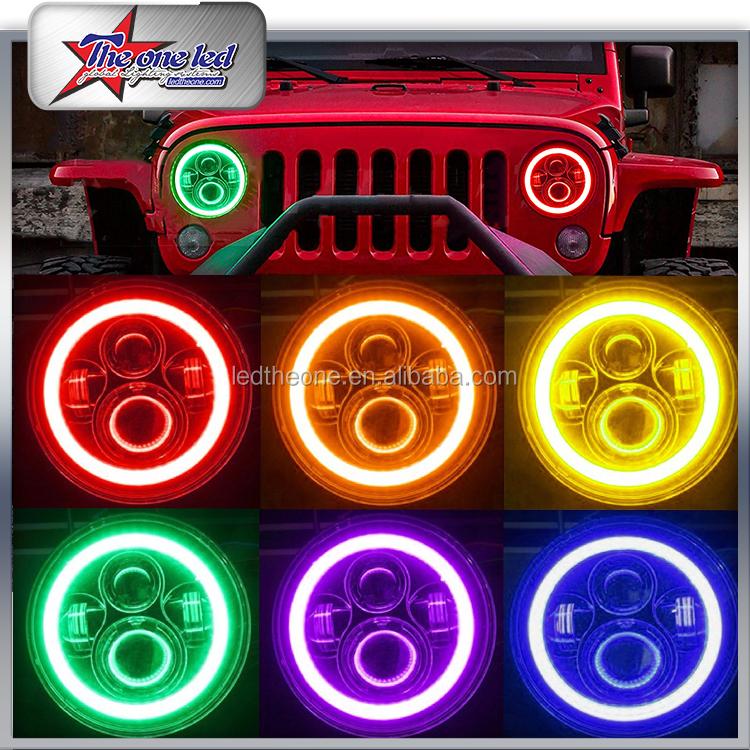 Bluetooth contrôle 50 w 7 pouce rgb halo anneaux jeep wrangler led phare 7