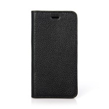 Well-selling classical style black genuine leather phone flip case for Iphone 6