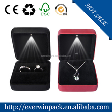 leather high-end engagement ring box led light
