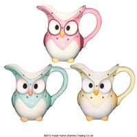 Ceramic Colour Owl Milk Jug