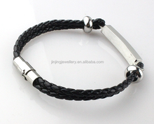 316L Stainless Steel Mens Bio Magnetic Leather Bracelet