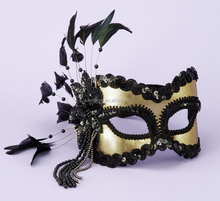 black-and-gold feather mask for party decoration masquerade mask party face lace mask QMAK-1058