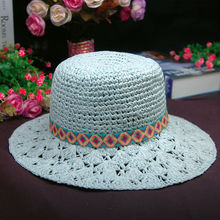 Ladies Medium Brim Hand Crochet Floppy Straw Hat with Ribbon Trim