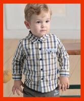 2015 children kid boys 100% cotton fashon short sleeve denim shirtyard dyed shirt ed fabric long sleeve boy shirt