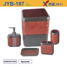 2015 Red Flower Carved Polyresin Bathroom Set for Middle East Market