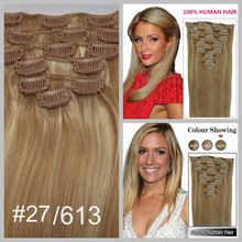 Best quality 12''-18'' 80g straight human hair extensions 100% Brazilian remy clip in hair