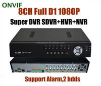 CCTV 8CH Full D1 1080P H.264 IP DVR Hi3520A Standalone Super DVR SDVR/HVR/NVR Security System HDMI, Support Alarm Cameras WiFI