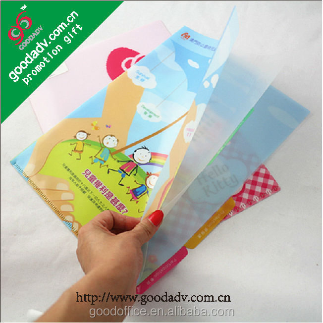 China Manufacture wholesale A4 size file folder /L-shape file folder /plastic clear file folders