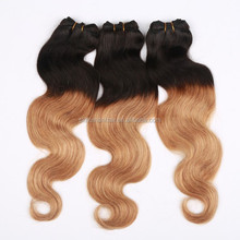 SHANGKAI 2014 hot selling different colors two tone ombre color human hair weft