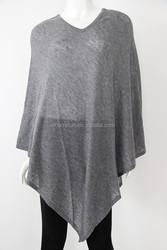 V-neck summer wearing women Merino wool acrylic nylon blend ponsho wraps