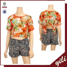 2015 fashion floral printed tops short sleeves sexy ladys chiffon blouse