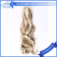 Blond color synthetic ponytail hair extension snap clips, hair wholesale cheap prices, free hair weave samples