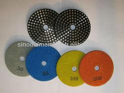 Metal bond diamond polishing pads for limstone and travertine floor surfaces