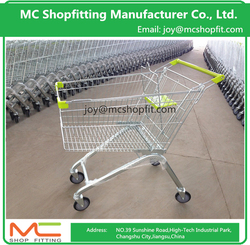 Wal-mart Style Mall Supermarket Basket Shopping Trolley , Metal Shopping Cart