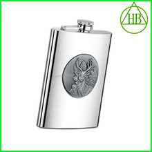 LFGB promotion 5oz stainless hip flask steel marking with deer head small thermos flask