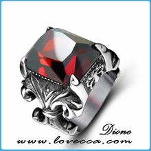 Casting top quality raw inlay ruby men ring hot wholesale 316L stainless steel thumb rings