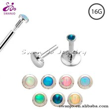 Fashion new design 316 l surgical steel lip stud with opal gem labret rings internal threaded monroe piercing jewelry