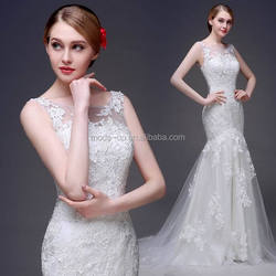 Mermaid tail wedding dress bridal gown/ vintage lace wedding dress/ lace open back wedding dress
