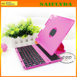 New arrival best selling hot pink Bluetooth keyboard rotation case for ipad 2 3 4