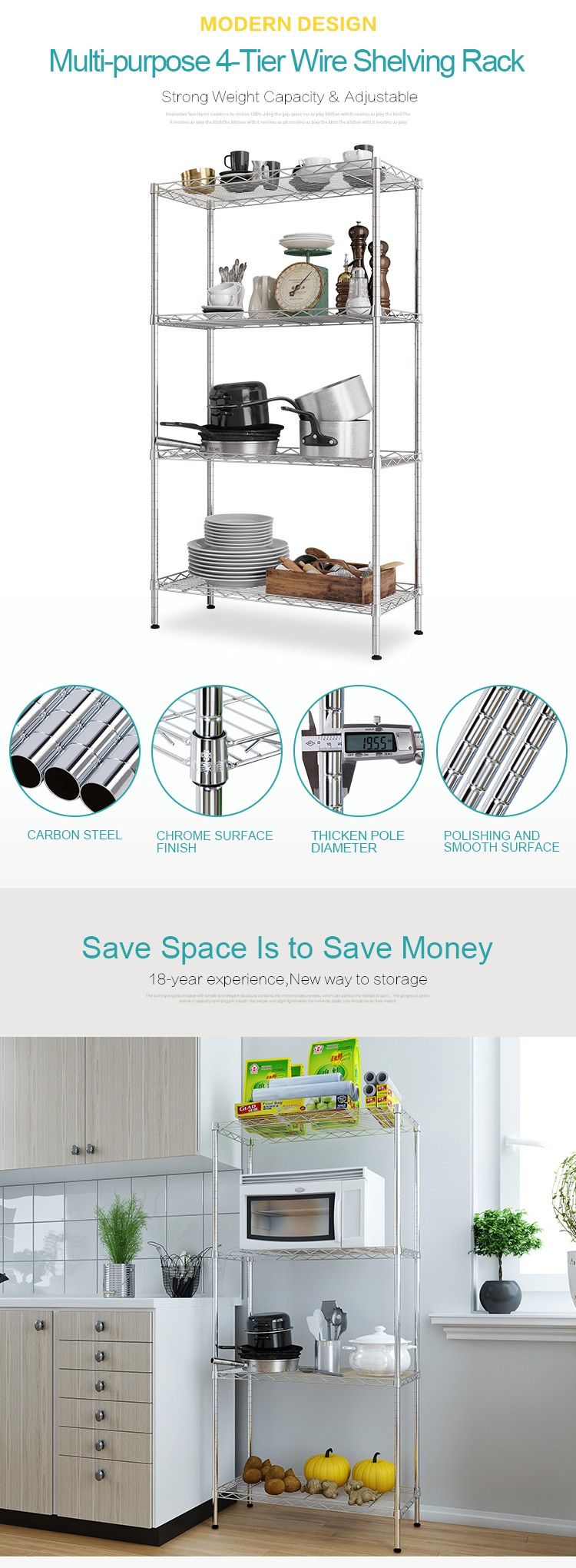 Xm_202 Kitchen Wire Shelving Storage Microwave Oven Rack Metal Book ...
