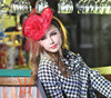 Ladies Big Red Sinamay Flower Fascinators For Party/Wedding With Net