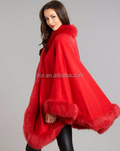 Hot Style 2016 Red Cashmere Shawl Poncho With Fox Fur Trim Winter Ladies Glamour Fur Pushmina Cape