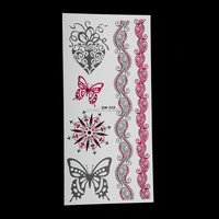 Gold Silver Red Blue Flash Body Sticker Tattoo with Butterfly Wholesale in China