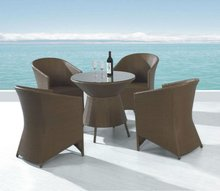 Huaxialong Lake side rattan Summer dining set with 4 chairs and tempered glass Item No FWA-012