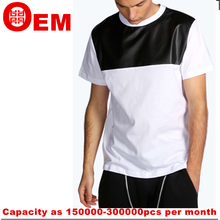 Cheap Blank 100 Cotton Mens Plain White T Shirts with leather In Bulk Sales