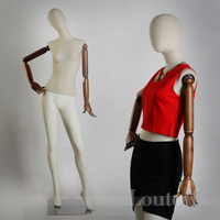 full-body female movable mannequin with wooden arms