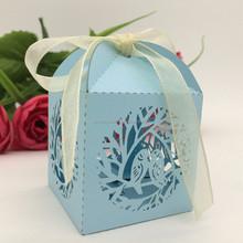 2015 Hot Custom Light Blue Love Bird Square Laser Cut paper wedding candy box chocolate favour box baby shower gift box