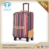 Stripe style colorful travel luggage bag with lower price