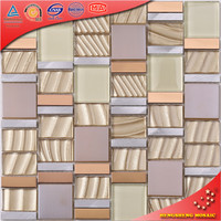 HD12 Warm Color High Quality Stone Coated Metal Roof Tiles Stainless Steel Mix Crystal Glass Mosaic Metal Glass Mosaic
