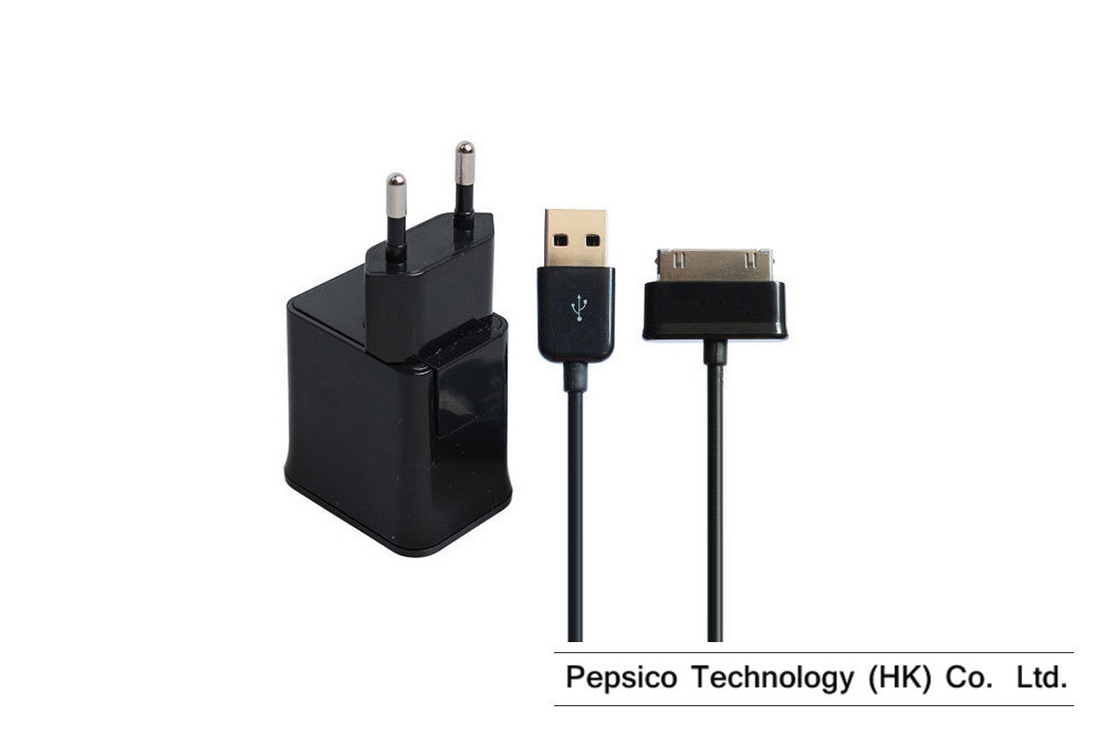 5V 2.0A 2 In 1 For Samsung Galaxy Tab P1000 P7500 P7100 P6200 EU Wall Plug USB Port + Mobile Phone Charger Tablet PC Charge