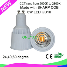 6W CCT rang LED GU10 from 2000K to 2800K adjustable dimmable LED GU10 color temperature change spotlight