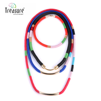 Colorful weave necklace summer 2015 jewelry zinc alloy ethnic necklace women multilayer chain necklace statement NL12753
