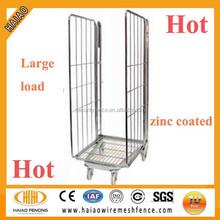 Folding zinc coated warehouse steel mesh storage cage