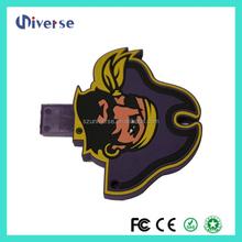 Free samples memoria usb 8gb pen drive pirate shape PVC usb stick logo print