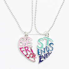 (304 Stainless Steel)Enamel Pink and Blue Best Friend Forever Pendant BFF Necklace