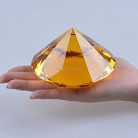 fake diamond large 100mm amber K9 crystal diamond stone golden yellow paperweight decoration
