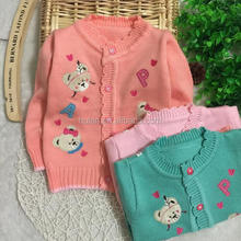 2015 hot sale fashion roll neck cartoon print plain with button girls open front sweater